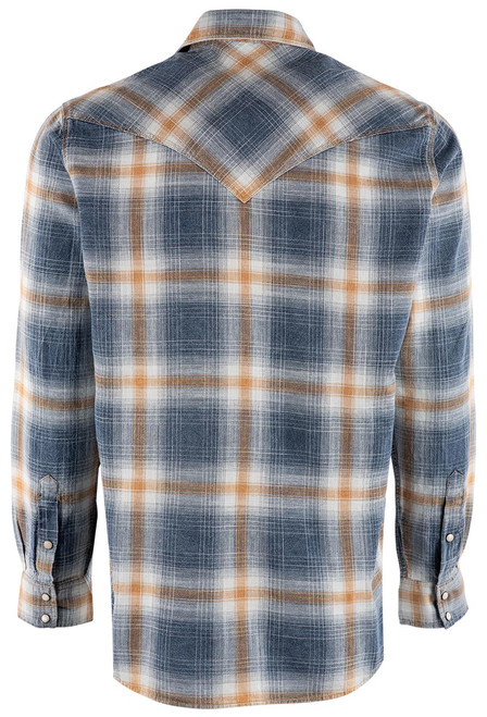 Pinto Ranch YY Collection Gold Washed Plaid Snap Shirt - Back