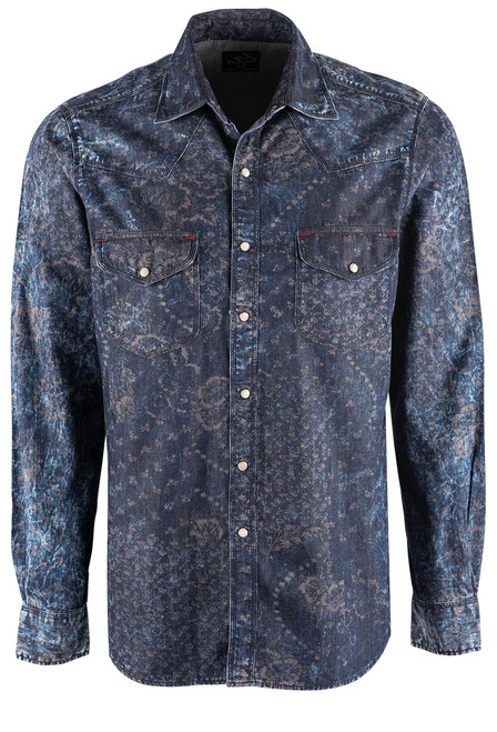 Pinto Ranch YY Collection Denim and Floral Print Snap Shirt - Front
