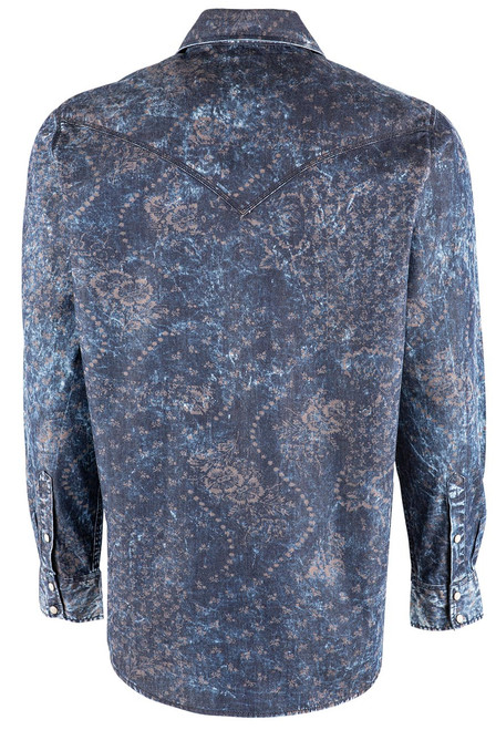 Pinto Ranch YY Collection Denim and Floral Print Snap Shirt - Back