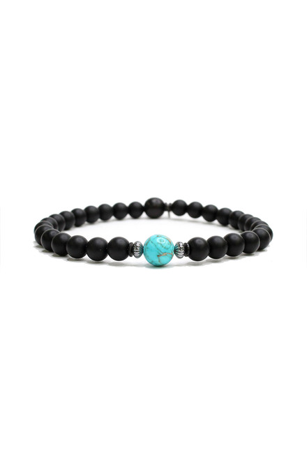 Kenton Michael Black Onyx and Turquoise Men's Bracelet
