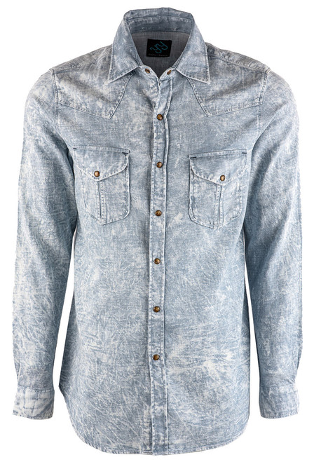Pinto Ranch YY Collection Powder Blue Washed Snap Shirt - Front