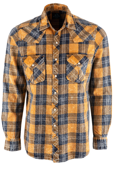 Pinto Ranch YY Collection Blue Plaid Washed Snap Shirt - Front