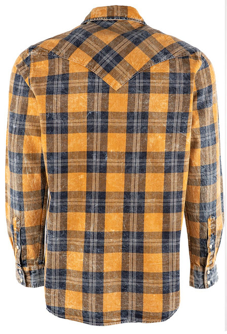 Pinto Ranch YY Collection Blue Plaid Washed Snap Shirt - Back