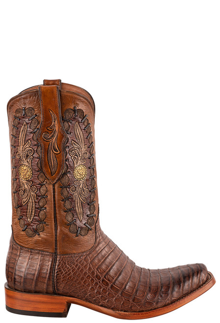 Black Jack Exclusive Burnished Brown Caiman Belly Hand Tooled Boots - Side