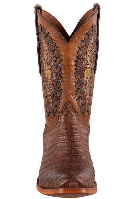 Black Jack Exclusive Burnished Brown Caiman Belly Hand Tooled Boots - Front