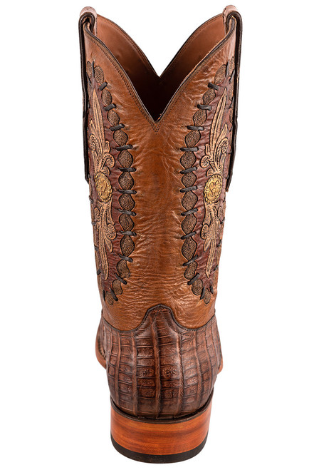 Black Jack Exclusive Burnished Brown Caiman Belly Hand Tooled Boots - Back