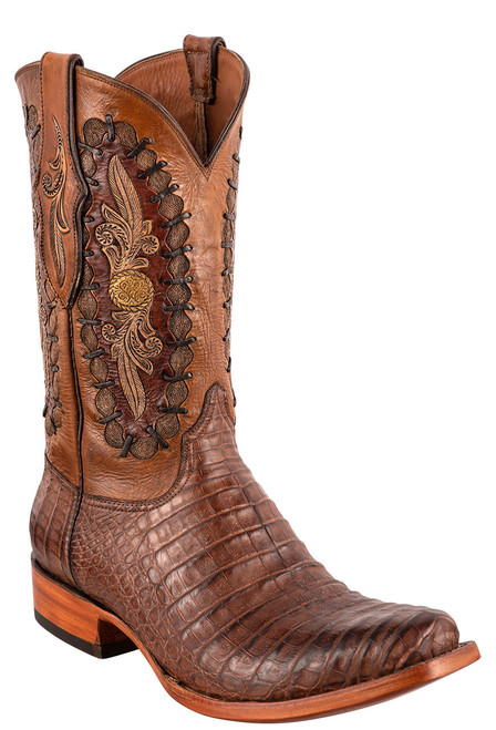 Black Jack Exclusive Burnished Brown Caiman Belly Hand Tooled Boots