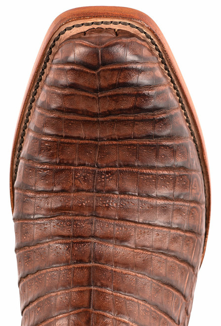 Black Jack Exclusive Burnished Brown Caiman Belly Hand Tooled Boots - Toe