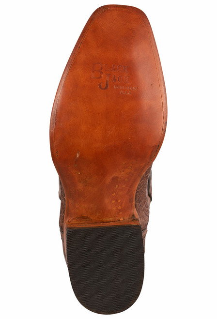 Black Jack Exclusive Burnished Brown Caiman Belly Hand Tooled Boots - Sole