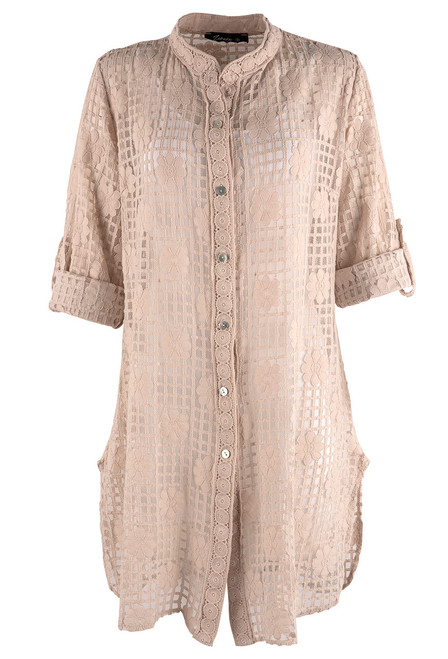 Gretty Zueger Alessa Lace Button Down Duster - Beige - Front