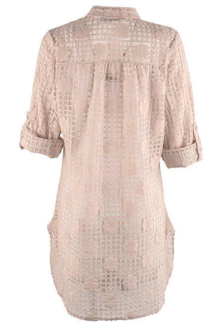 Gretty Zueger Alessa Lace Button Down Duster - Beige - Back