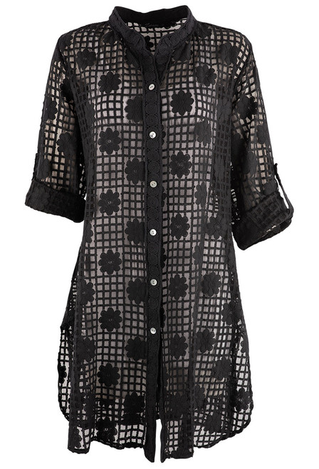 Gretty Zueger Alessa Lace Button Down Duster - Black - Front