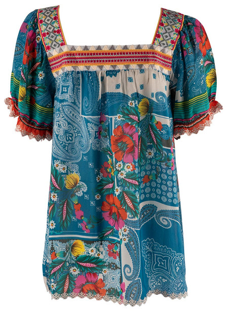Johnny Was Hilary Floral Paisley Blouse