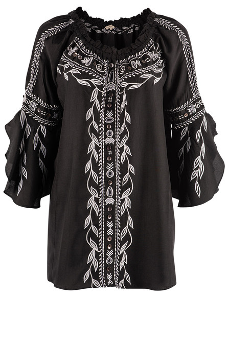 Vintage Collection Concord Embroidered Off Shoulder Tunic - Front
