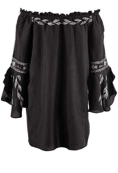 Vintage Collection Concord Embroidered Off Shoulder Tunic - Back