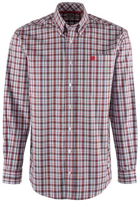 Cinch Blue, Red & White Plaid Shirt - Front