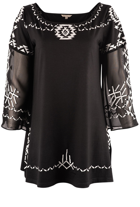 Vintage Collection Princess Black Embroidered Tunic - Front