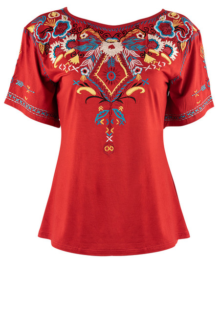 Vintage Collection Serenity Red Embroidered Top - Front