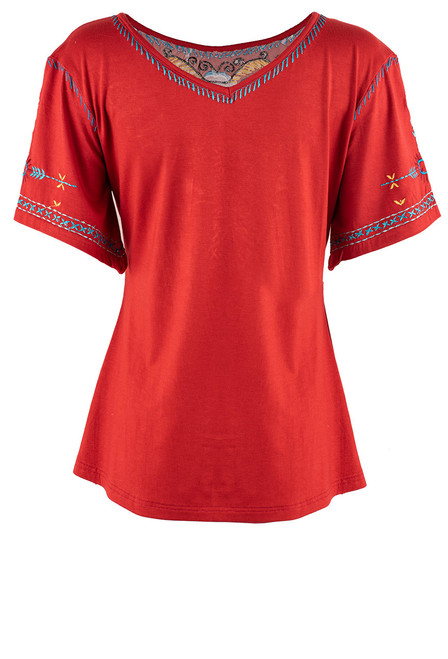 Vintage Collection Serenity Red Embroidered Top - Back
