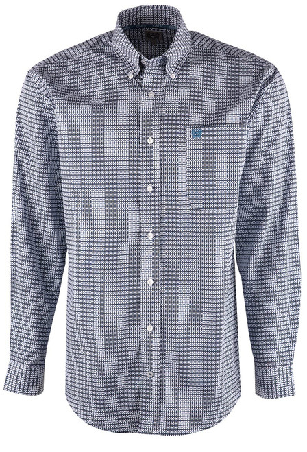 Cinch Blue and White Check Print Shirt - Front
