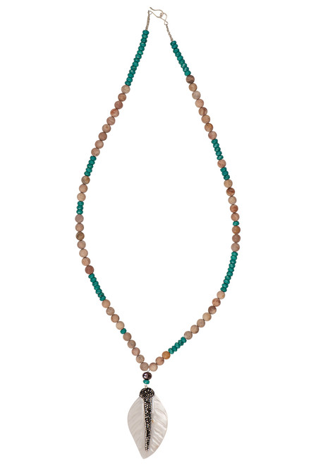 Ann Vlach Designs Pink Sunstone Necklace with Feather Pendant