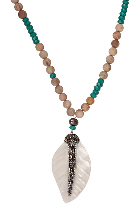Ann Vlach Designs Pink Sunstone Necklace with Feather Pendant - Close