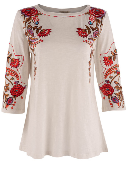 Vintage Collection Cargo Embroidered White Top - Front