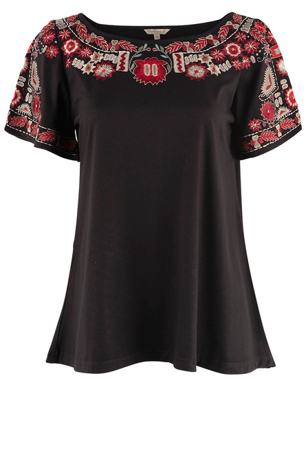 Vintage Collection Athens Black Embroidered Top - Front