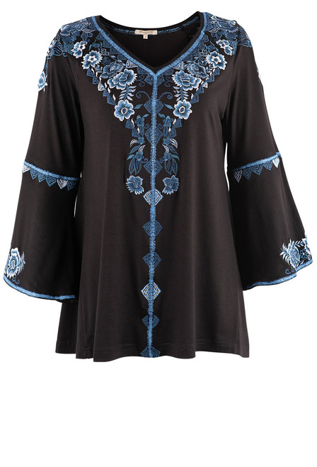 Vintage Collection Harmony Embroidered Black Top  - Front