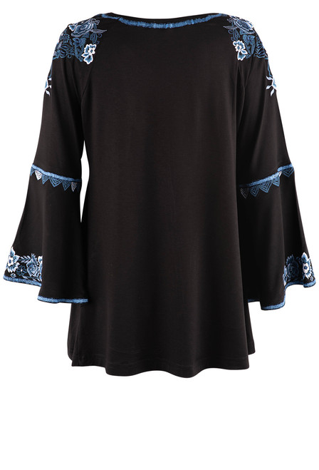 Vintage Collection Harmony Embroidered Black Top  - Back