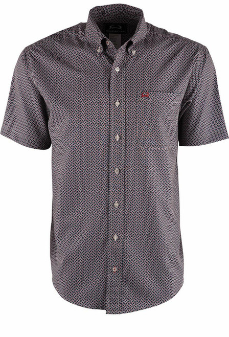 Cinch Cream and Red Check Print ArenaFlex Shirt - Front