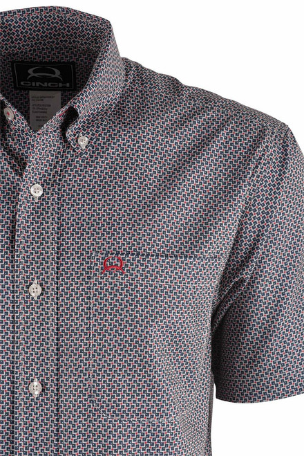 Cinch Cream and Red Check Print ArenaFlex Shirt