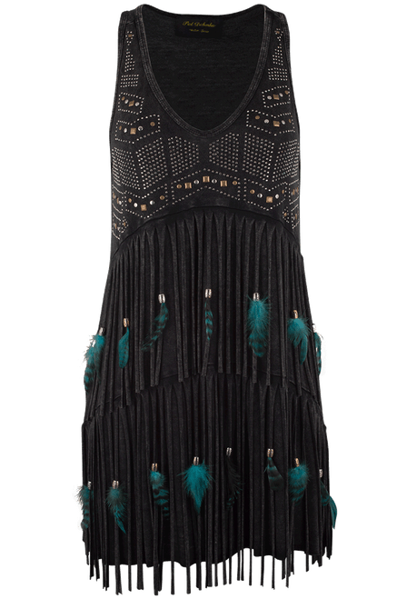 Pat Dahnke Tiered Fringe and Feather Tank - Black - Front