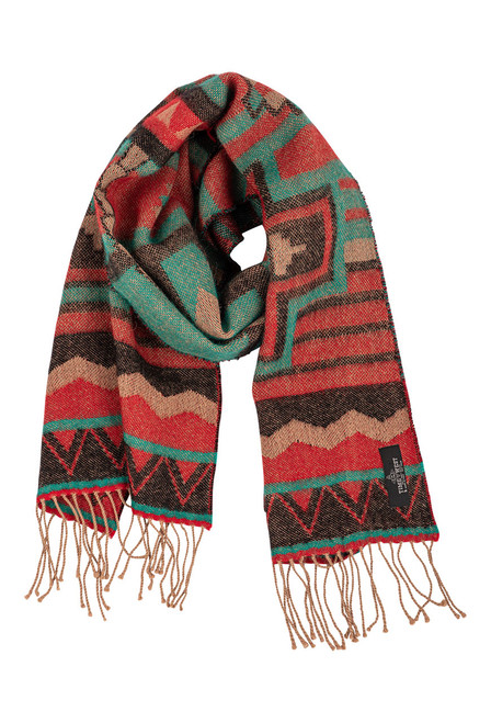 Time of the West Alpaca Southwest Print Scarf in Red