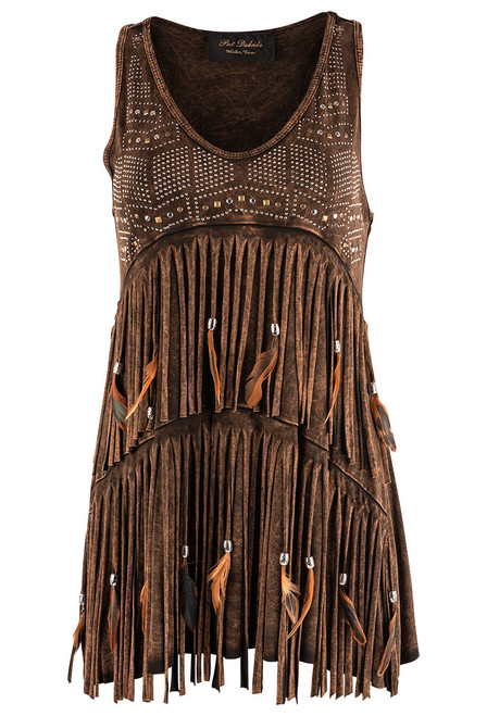 Pat Dahnke Tiered Fringe and Feather Tank - Brown - Front