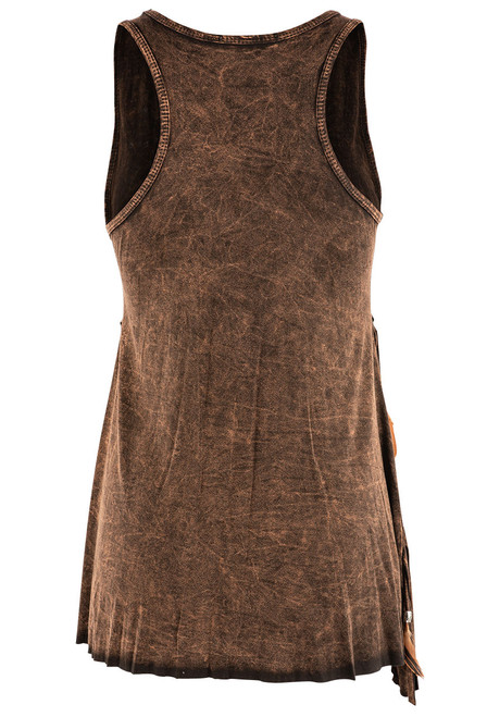 Pat Dahnke Tiered Fringe and Feather Tank - Brown - Back