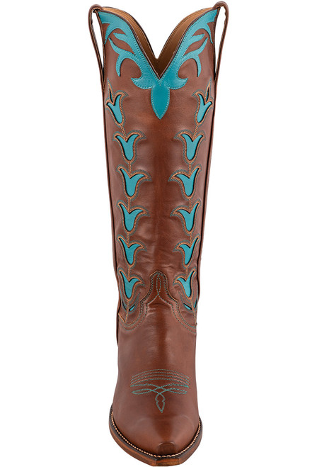 """Lucchese 15"""" Tulip Chocolate Cowboy Boots - Front"""