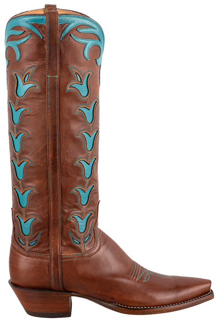 """Lucchese 15"""" Tulip Chocolate Cowboy Boots - Side"""