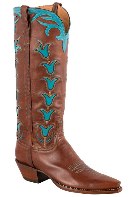 """Lucchese 15"""" Tulip Chocolate Cowboy Boots"""