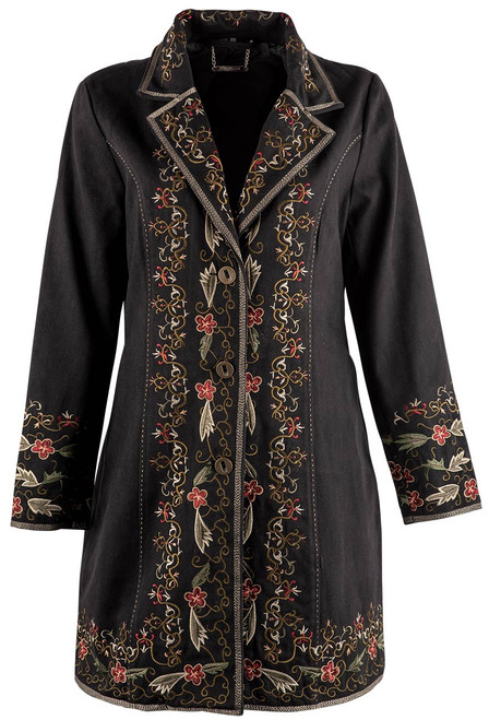 Paparazzi by Biz Floral Embellished Twill Coat - Front