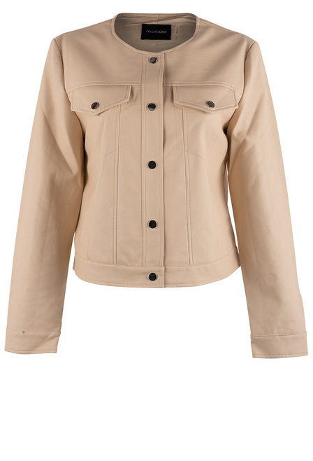Dolce Cabo Faux Leather Jacket - Cream