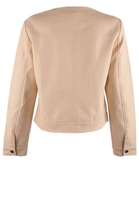 Dolce Cabo Faux Leather Jacket - Cream - Back