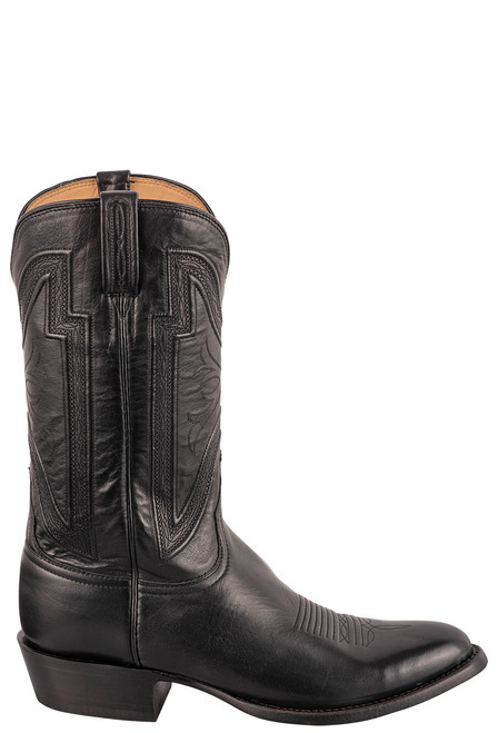 """Lucchese Collins 12"""" Black Baby Buffalo Boots - Side"""