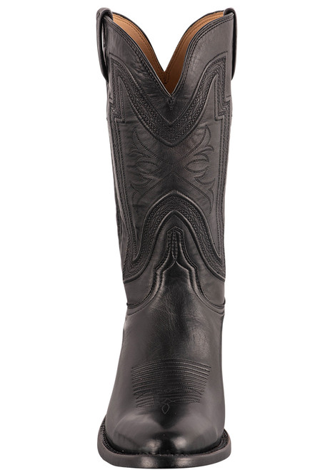 """Lucchese Collins 12"""" Black Baby Buffalo Boots - Front"""