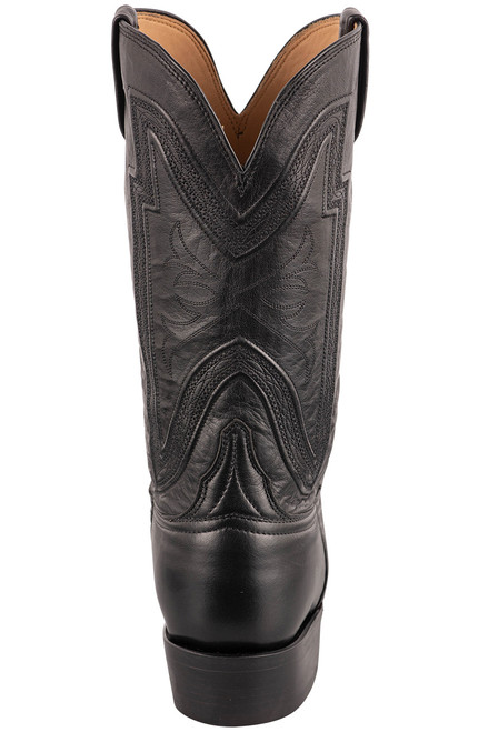 """Lucchese Collins 12"""" Black Baby Buffalo Boots - Back"""