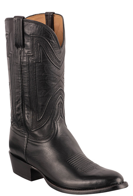 """Lucchese Men's Collins 12"""" Black Baby Buffalo Boots"""