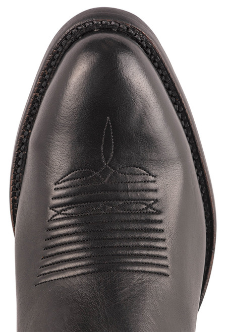 """Lucchese Collins 12"""" Black Baby Buffalo Boots - Toe"""