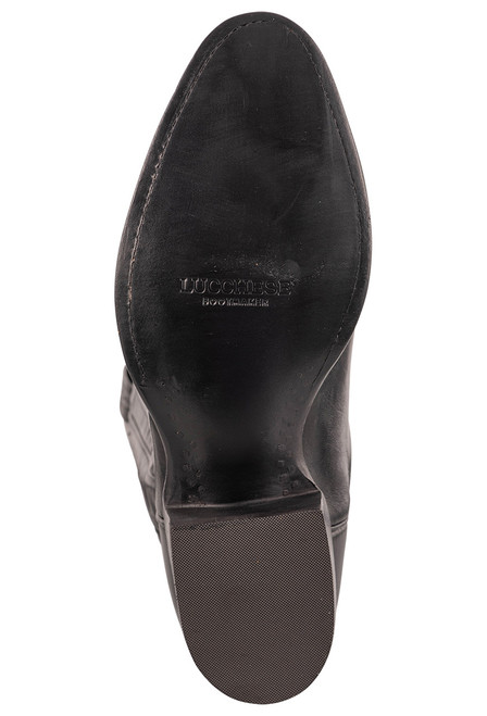 """Lucchese Collins 12"""" Black Baby Buffalo Boots- Sole"""