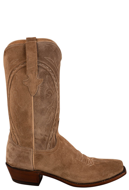 """Lucchese Men's Jessie 12"""" Tan Suede Boots - Side"""