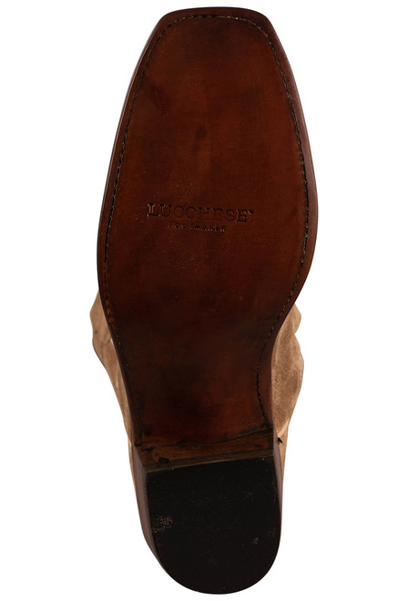 """Lucchese Men's Jessie 12"""" Tan Suede Boots - Sole"""